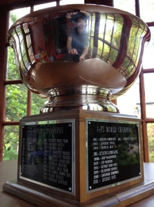 The I-75 League Trophy, engraved each year since 1980 with the name of our World Series winner.