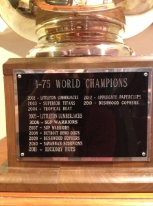 It's officially engraved: Bushwood is 2013 World Series champion.