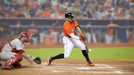 Giancarlo Stanton slugged a record 5 homers in a 23-4 win. (Photo by Corn Farmer/Flickr)