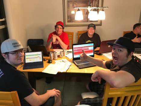 Mike Renbarger (red shirt) and Sons during the 2018 draft.