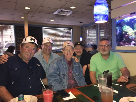 Five of the I-75 League's original managers gathered at Shells restaurant: Left to right, Dave Renbarger, Ken Kuzdak, Larry Pittman, Gary Kicinski, Steve Hart.
